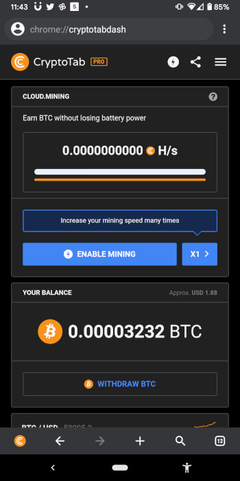 """How to get free bitcoin with CryptoTab browser pro - you need to remember to tap """"enable mining"""" every three hours."""